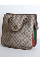 Vintage 80s Gucci Brown Monogram Satchel Tote