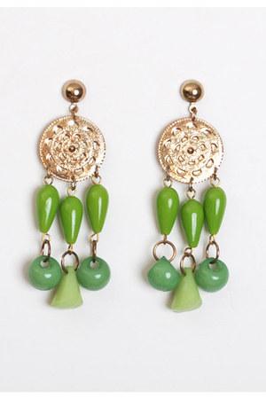 chartreuse vintage earrings