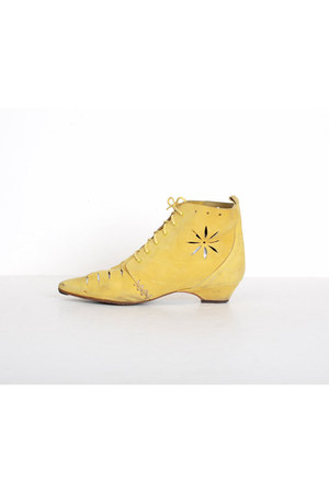 light yellow vintage boots