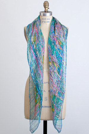 sky blue vintage scarf