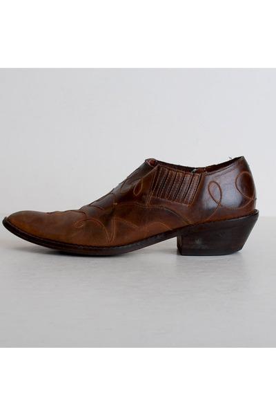 size 8 1 2 vintage 90s brown winklepicker ankle boots 38 5