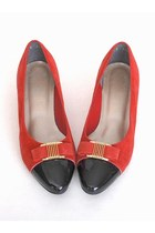 Vintage 80s Size 9 Red Suede Cap Toe Bow Shoes Flats 40 