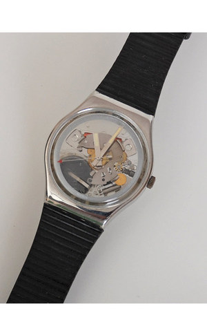 black vintage swatch watch