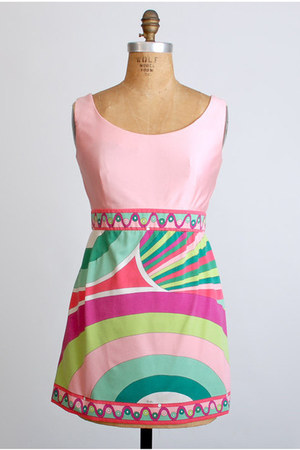 pink mini polyester Vintage Emilio Pucci dress