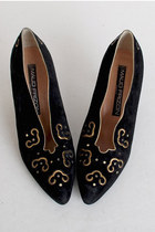 RESERVED...Size 8 1/2 Vintage 80s Maud Frizon Black Suede & Gold Pumps 38.5