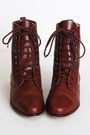 Maroon-lace-up-leather-vintage-boots