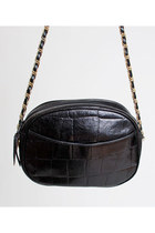 Vintage 90s Black CROC Leather PURSE / Embossed Gold Chain Strap Bag