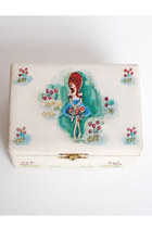 Vintage 60s MOD Big Eye Girl Cartoon Jewelry Music Box