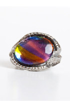 Vintage 60s 70s MOD Silver Metal Rainbow Cabochon Ring 