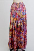 Pink Maxi Long Gauze Vintage Skirts
