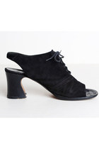 90s Suede High Heel Sandals / Black Open Toe Shoes 8.5 38.5