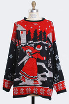 Vintage 90s Ugly Christmas Sweater Glitter Ice Skater Top