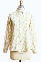 Vintage 60s Floral Bird Print Blouse / Button Down Shirt, s m
