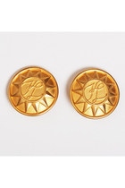 Vintage 80s 90s Karl Lagerfeld Gold Sun Earrings