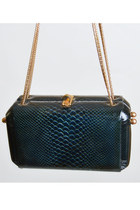 Vintage 60s Embossed Croc Box PURSE / 1960s Chain Strap Bag