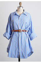Vintage 90s Blue &amp; White Stripe Ralph Lauren Shirt 