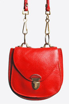 Vintage 60s Red Leather Purse / Small Crossbody BAG