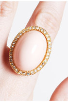 Vintage 60s 70s Faux Angel Skin Rhinestone Ring / Oversized Cab Pave Ring