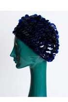 Vintage 60s MOD Navy Blue Sequin Paillette Knit Beret Hat