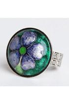 Vintage 60s 70s Silver Enamel Flower Ring