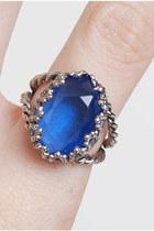 Vintage 60s 70s Blue Rhinestone Ring