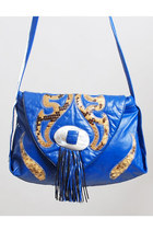 Vintage 80s Blue Leather & Snakekin Patchwork Shoulder Bag