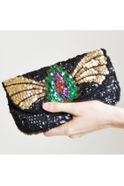 Vintage 90s BEADED EVENING BAG / 1990s Metallic Beaded Clutch Purse