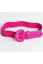 90s Woven Straw Belt / Hot Pink Statement Belt, s m