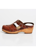 Size 9 Vintage 90s Brown Leather Clog T-Strap Sandals 40