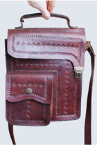 Vintage 60s 70s Tooled Leather Shoulder Bag