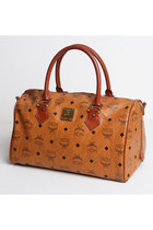 80s MCM Heritage Boston Bag Cognac Brown Leather