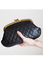Vintage 60s Black Quilted Clutch Purse