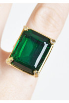 Vintage 50s 60s Emerald Rhinestone Ring Green Glass
