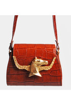 90s HORSE PLAQUE PURSE / Brown Croc Leather Shoulder Bag