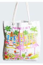 80s Miami Beach TOTE BAG / Palm Trees Flamingos