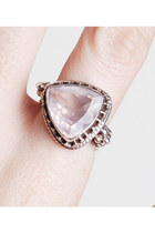 90s STERLING Silver Ring / Oversized Milky Pink Quartz