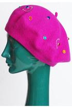 Vintage 70s 80s Fuchsia Pink Rhinestone Studded Beret Hat