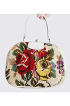 Vintage 60s FLORAL Carpet Bag / Boho Floral Purse / Floral Tote Bag