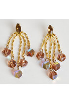 Vintage 60s 70s AB Crystal Rhinestone Dangle Earrings
