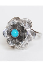 Vintage 60s 70s Silver Turquoise Flower Ring