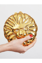 Vintage 90s Gold Metal Crystal Rhinestone Lion Head Clutch Purse