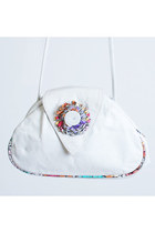 Vintage 80s Leather Patchwork Rosette Shoulder Bag