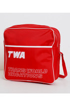 Vintage 60s 70s TWA Red Flight Travel Shoulder Bag