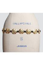 Vintage 90s METAL MEDALLION Plaque Belt / Gold Link