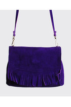 60s 70s FRINGE Suede PURSE / Fringed Purple BAG