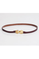 Vintage 90s SEASHELL Belt / Thin Brown Faux Leather, s m