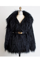 Vintage 90s Black Faux Gorilla Fur Coat Jacket