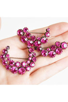 Vintage 50s 60s Pink Rhinestone Crescent Spray Pin Set of 3 Brooches