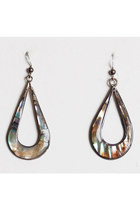 Vintage 70s Silver MOP Teardrop Earrings