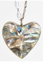 Vintage 60s 70s Abalone MOP Shell Heart Pendant Necklace